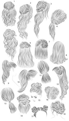 18 vector female hairstyles by colorshop on Creative Market, - Best Frisuren ideen Art Drawings Sketches Simple, Cute Drawings, Pencil Drawings, Disney Drawings, Drawing Ideas, Drawing Tips, Hair Drawings, Drawing Faces, Dress Design Sketches