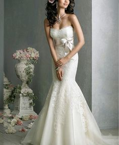 New Lace white/ivory Wedding Dress Sexy V Neck Mermaid Bride Gown With Train Jim Hjelm Wedding Dresses, Wedding Dress 2013, Lace Mermaid Wedding Dress, Wedding Dress Sizes, Cheap Wedding Dress, Wedding Attire, Wedding Gowns, Dress Lace, Mermaid Gown