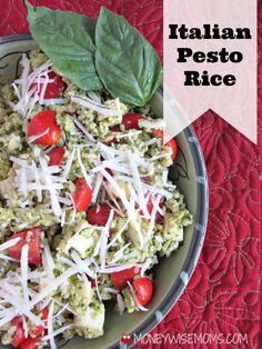Easy 10-minute Italian Pesto Rice, perfect for a vegetarian dinner or to bring to a summer potluck or party. So flavorful with fresh mozzarella, Parmesan and tomatoes! AD MinuteMealsSweeps