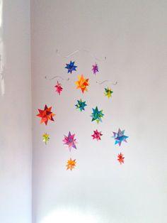 Baby Crib Mobile Origami Paper Stars -'Pyxis' Rainbow on Etsy, $58.00