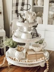 Styling a Farmhouse Tiered Tray with antiques (cottage decor ideas) - Rain and Pine 3 Tier Stand, Tiered Stand, Country Farmhouse Decor, French Country Decorating, Italian Farmhouse, Farmhouse Pottery, Farmhouse Ideas, Farmhouse Design, Vintage Farmhouse