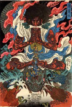 Utagawa Kuniyoshi Kidô Maru Learning Magic from the Tengu, ca. 1843 Japanese color woodblock print x cm Egenolf Gallery Japanese Prints (Burbank, CA) Japanese Artwork, Japanese Tattoo Art, Japanese Painting, Japanese Prints, Japanese Poster, Japan Illustration, Grand Art, Japanese Mythology, Susanoo