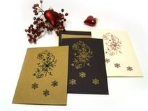 3 Weihnachtskarten mit Stempelmotiven (Set 3)