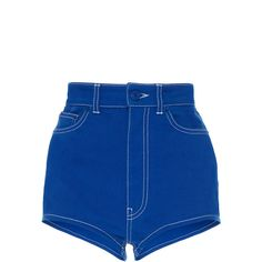 Givenchy Workwear Mini Shorts ($665) ❤ liked on Polyvore featuring shorts, co-ords, blue, short shorts, hot pants, cotton shorts, short hot pants and givenchy shorts