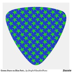 Shop Green Stars on Blue Pattern Guitar Pick created by BrightVibesArtPhoto. Guitar Exercises, Green Gifts, Guitar Songs, Cloud Strife, Guitar Picks, Star Patterns, Guitar Lessons, Star Shape, Green Colors