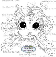 DESCARGA instantánea Digital Digi sellos ojo grande Big Head Dolls Digi mi - Besties hadas por Sherri Baldy