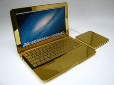 """Computer Choppers Polished 24 karat Gold Macbook Air 11"""" with Superdrive"""
