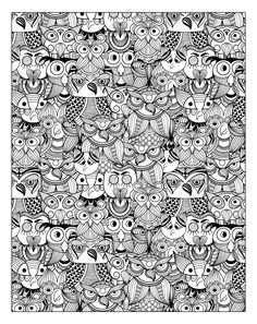 Free coloring page coloring-adult-owls. Many owls in this coloring page