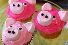 Piggy Cupcakes, Cupcakes Cool, Themed Cupcakes, Easy Animal Cupcakes, Birthday Cupcakes, Cupcake Day, Cupcake Cookies, Animal Themed Food, Animal Party