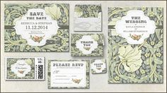 CLASSICAL FLORAL WEDDING INVITATIONS with elegant vintage typography design and matching Save the Date post cards, thank you cards, RSVP, stickers, stamps and envelopes...