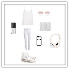 White #2 by smith-emily-1 on Polyvore featuring River Island, Pieces, Converse, Chris Benz, NARS Cosmetics, white, whiteout and springwhiteout