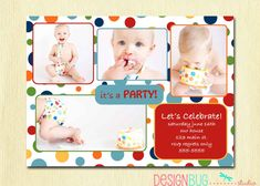 First Birthday Party Invitation  Rainbow Polka by DesignBugStudio