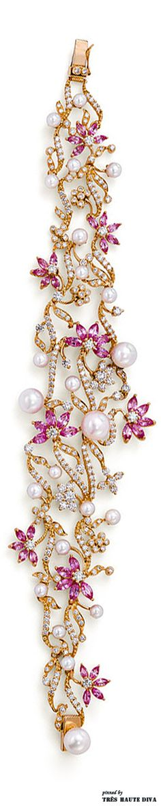 Bracelet with pink sapphires, pearls and diamonds from Ganjam's new Le Jardin collection