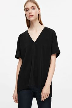 COS image 2 of V-neck rounded jersey top in Black