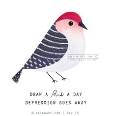 """I have been drawing a lot of birds lately and doing a """" a bird a day""""  drawing on facebook and instagram! It has been fun and today mark Day 17!   Follow my bird painting on Facebook: https://www.facebook.com/neikoart Instagram: @neiko_ng"""