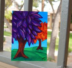 Purple and Orange ACEO tree painting  ACEO  ATC  by HeartsAndKeys