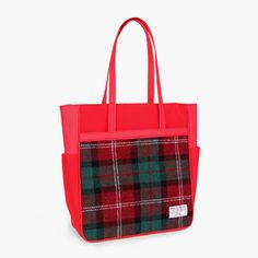 Sweetch tote brief red x Harris tweed