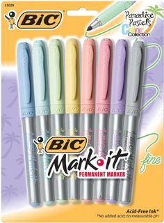 Amazon.com: Bic Mark-It Permanent Markers Fine Point Paradise Pastels (8 New Colors): Office Products