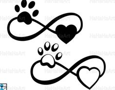 Infinity with paw and heart Cutting Files / Clipart Svg Png Jpg Eps Dxf Pdf Digital Graphic Design I Band Tattoos, Dog Tattoos, Cat Tattoo, Sexy Tattoos, Flower Tattoos, Body Art Tattoos, Print Tattoos, Small Tattoos, Tatoos
