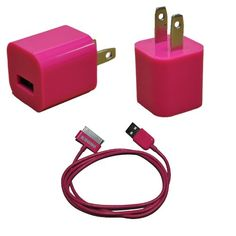 KHOMO Pink Color USB Power Adapter Charger + USB SYNC Cord Cable for Apple iPhone 3G 4G 4Gs iPod Nano iPod Touch