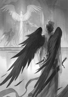 Find images and videos about art, anime and angel on We Heart It - the app to get lost in what you love. Dark Fantasy Art, Fantasy Kunst, Dark Art, Character Inspiration, Character Art, Art Amour, Angel Drawing, Ange Demon, Demon Wings