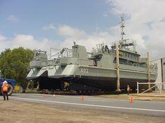 HMAS Shepparton in transit to the refit halls at BSE Cairns Slipways.