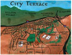 My water color and oil painted bird's-eye-view map of City Terrace -- a neighborhood in East Los Angeles http://www.amoeba.com/blog/2013/12/eric-s-blog/been-up-to-city-terrace-to-see-what-s-a-happening-exploring-city-terrace.html