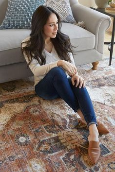 Magnolia Home by Joanna Gaines Evie Ivory / Spice - NW Rugs & Furniture Joanna Gaines Rugs, Joanna Gaines Living Room, Joanna Gaines Farmhouse, Magnolia Joanna Gaines, Joanna Gaines Style, Chip And Joanna Gaines, Magnolia Fixer Upper, Magnolia Home Rugs, Magnolia Homes