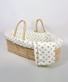 Moses baskets are hand-woven from the wild native palms on the hillsides of Morocco and they have served as the natural first bed for newborns far back in history. The beautiful basket is dressed up with a cushioned bumper, a foam mattress with a removable sheet and a cozy blanket. Includes basket, bumper, blanket, pillow, foam pad with removable cover