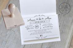 *Ein schöner STEMPEL nur für EURE HOCHZEIT!*  Im stilvollen Vintage / Chalboard - Look!  STEMPELT eure Hochzeitseinladungen einfach selber! Erfreut & beeindruckt eure Hochzeitsgäste mit dem...