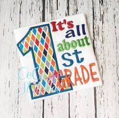 All About 1st Grade Applique Design - pinned by pin4etsy.com
