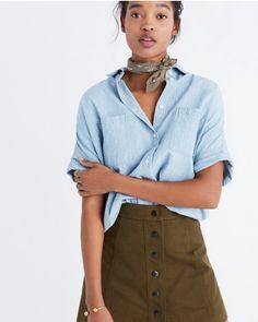 Bandana, chambray shirt, high-waist pants