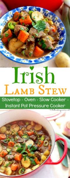 Lamb Stew Recipe Traditional Irish Stew prepared on the stovetop, oven, slow cooker or Instant Pot Pressure Cooker Instant Pot Pressure Cooker, Pressure Cooker Recipes, Slow Cooker Lamb Recipes, Lamb Stew Slow Cooker, Pressure Cooker Lamb, Instant Cooker, Pressure Pot, Irish Lamb Stew, Lamb Shank Stew