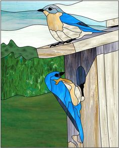 Birds at a birdhouse Stained Glass Patterns Free, Stained Glass Birds, Stained Glass Panels, Stained Glass Projects, Leaded Glass, Fused Glass, Tiffany Glass, Glass Animals, Mosaic Art
