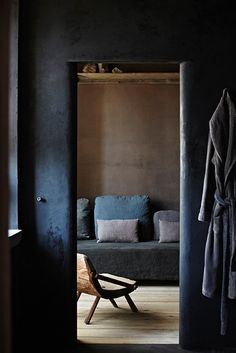 Something appealing about this dark blue room.