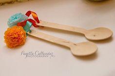 tissue paper pom pom spoons!