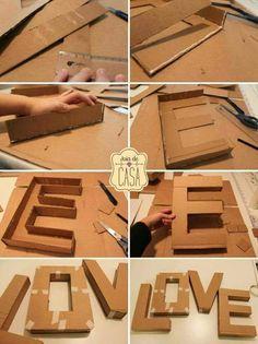 "DIY letters uploaded by gabidino on We Heart It DIY letter ""love""<br> Cardboard Letters, Diy Letters, Cardboard Crafts, Paper Crafts, Diy Crafts To Sell, Crafts For Kids, Diy Karton, Diy Birthday, Birthday Gifts"