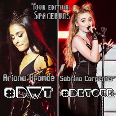 Face off---> Tour Editon: Spacebuns. Who rocked it better, Ariana Grande or Sabrina Carpenter? Comment #DWT for Ariana Grande and #DeTour for Sabrina Carpenter. // @sabaribello