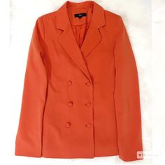 Aden Double Breasted Blazer This blazer is right on trend with current silhouettes. The tangerine color is magnificent. It is a size small and fits true to size. Bust is approximately 32 inches. Aden Jackets & Coats Blazers