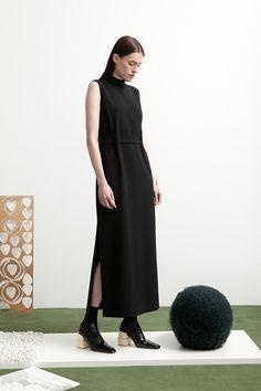 Eva Dress in black crepe.