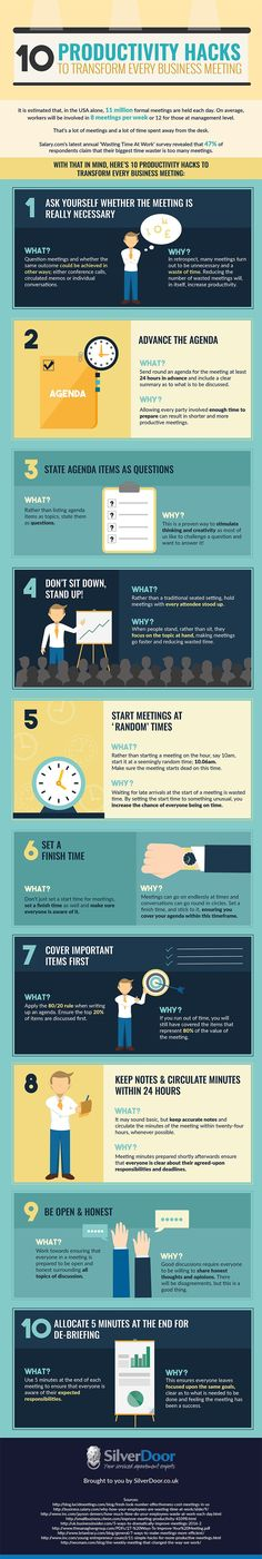 10 Productivity Hacks to Transform Every Business Meeting [Infographic] – Barry Gardebled 10 Productivity Hacks to Transform Every Business Meeting [Infographic] strategies-salespeople-use-run-effective-meetings. Increase Productivity, Productivity Hacks, Time Management Tips, Business Management, Effective Meetings, Business Meeting, Corporate Business, Corporate Events, Business Tips
