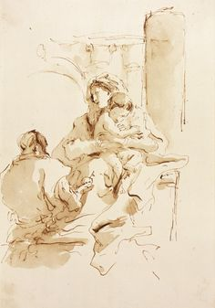The Holy Family Giovanni Battista Tiepolo (Italy, Venice, 1696-1770) Italy Drawings Brown ink and wash Sheet: 12 x 8 1/8 in. (30.48 x 20.63 ...