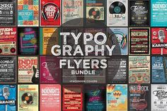 17 Typography Flyers + FB Covers - Flyers  All of the flyers are print ready! at 300dpi and CMYK color mode with a size of 8.5x11 inches + 0.25 inches bleed. When you will open the templates you will find very well organised, named and color coordinated groups and layers.