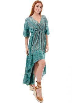 Φόρεμα Miss Pinky maxi silk ethnic κρουαζέ - Miss Pinky