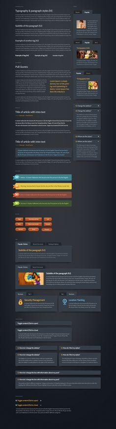 Dark Velvet GUI kit by PixelKit, via Behance