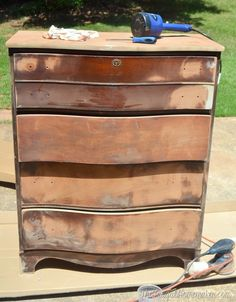 May 2015 - Dresser makeover (how to fix chipped veneer + deal with wood stain bleeding through paint)