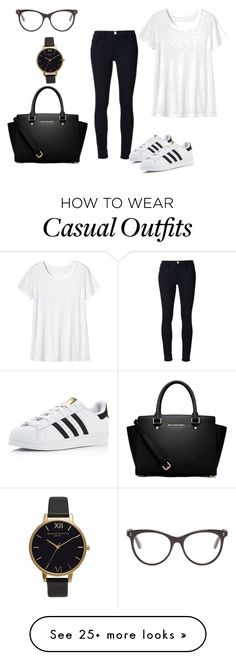 """Campus casual"" by thelittledose on Polyvore featuring Frame Denim, adidas, Toast, STELLA McCARTNEY, Olivia Burton and MICHAEL Michael Kors"