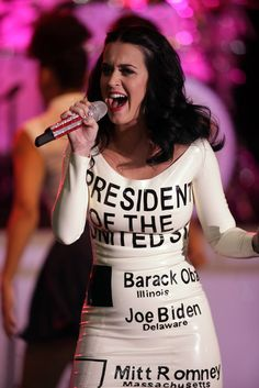Katy Perry wore her vote at an Obama rally in Vegas... happy birthday, Katy!