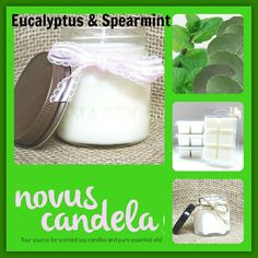 Bring the scent of Eucalyptus and Spearmint Oil to any room with our made to order Eucalyptus and Spearmint Soy Scented Candle.  As a purist every candle I make is scented with fragrance or pure essential oil and are 100% dye free giving my candle an ivory color. Made in small batches each candle has a cotton wick and is hand pour into rustic 4 or 8 ounce mason jars with a rustic lid. Perfect for the any room. Any fragrance can be made into clamshell/wax tart >>> http://ift.tt/2x4Ivap…