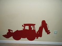 Construction Vinyl Wall Decal Decor Backhoe Loader - choose from our many color options